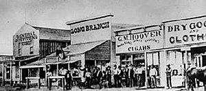 Long Branch Saloon - The Long Branch Saloon in Dodge City, Kansas, 1874