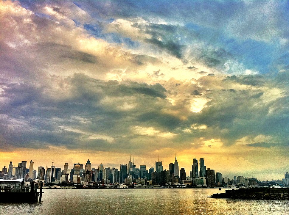 The New York City skyline after a stormy afternoon from Port Imperial, NY Waterway in Weehawken New Jersey