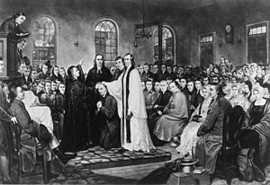 United Methodist Church - The ordination of Bishop Francis Asbury by Bishop Thomas Coke at the Christmas Conference establishing the Methodist Episcopal Church, 1784.