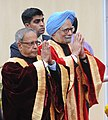 The President, Shri Pranab Mukherjee and the Prime Minister, Dr. Manmohan Singh arrived at the inauguration of the 100th Session of Indian Science Congress, in Kolkata on January 03, 2013.jpg