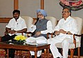 The Prime Minister, Dr. Manmohan Singh interacting with the engineering students from naxal affected areas of Chhattisgarh, in New Delhi on July 03, 2012. The Chief Minister of Chhattisgarh, Dr. Raman Singh is also seen.jpg