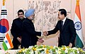 The Prime Minister, Dr. Manmohan Singh with the South Korean President, Mr. Lee Myung-bak, during a Joint Press Statement, in Seoul on March 25, 2012.jpg