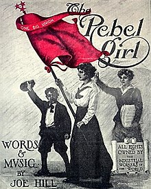 "Cover of ""The Rebel Girl"" by Joe Hill, featuring a black and white drawing of a woman holding a bright red flag, followed by a boy and another woman."