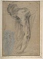 The Reclining Headless Body of Holofernes; Study of Female Semi-Nude Figure (on a small separate, unrelated sheet of blue paper, pasted onto the lower left of the large sheet). MET DP811357.jpg