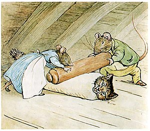 The Tale of Samuel Whiskers or The Roly-Poly Pudding - Anna Maria and Samuel Whiskers prepare Tom Kitten as a roly-poly pudding