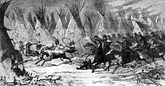 November 27: Battle of Washita River. The Seventh U. S. Cavalry charging in Black Kettle's village at daylight (Battle of Washita).jpg