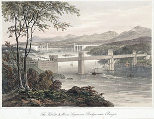 The Tubular & Menai suspension bridges near Bangor