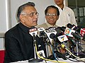 The Union Home Minister, Shri Shivraj Patil, and Chief Minister of Assam, Shri Tarun Gogai, addressing a Press Conference before visiting the boarder area of Bangladesh at Guwahati Airport on January 2, 2006.jpg