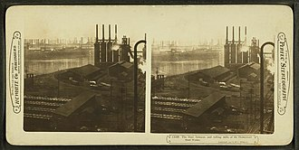 Economy of Pittsburgh - Image: The blast furnaces and rolling mills of the Homestead Steel Works, by H.C. White Co