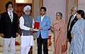 The first winner of an individual Gold Medal for India at the Beijing Olympic Games and International Shooting Ace, Shri Abhinav Bindra meeting with the Prime Minister, Dr. Manmohan Singh, in New Delhi on August 14, 2008 (2).jpg