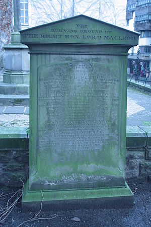 John Mackenzie, Lord MacLeod - The grave of Lord MacLeod, Canongate Kirkyard, Edinburgh
