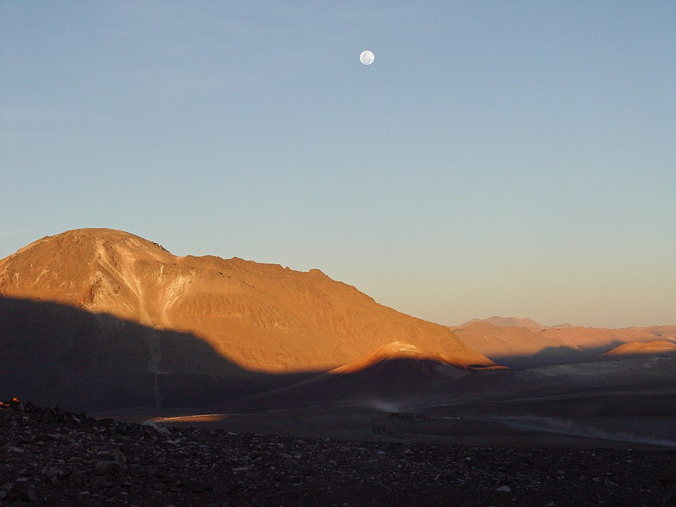 The moon high above Cerro Chajnantor at sunset