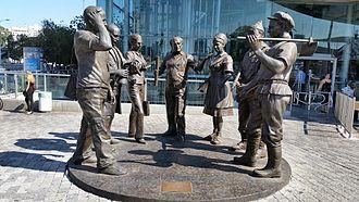 The Zionist Journey - Bronze sculptures in front of Azrieli Towers.