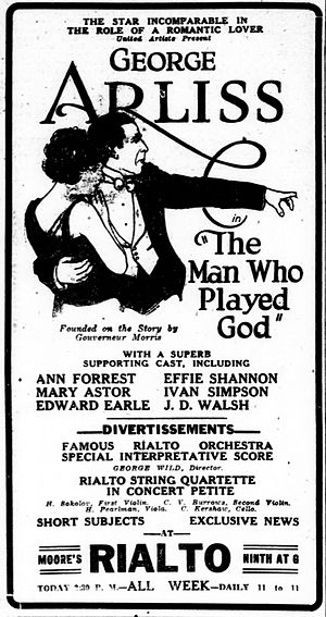 The Man Who Played God (1922 film) - Contemporary advertisement.