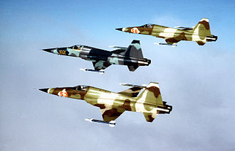Aggressor squadron - Three F-5E Tiger II from the 527th Tactical Fighter Training Aggressor Squadron.