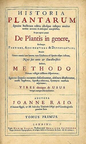 Historia Plantarum (Ray) - Title page of Historia Plantarum, John Ray, 1686