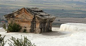Travertine - Mausoleum submerged in a travertine pool at Hierapolis hot springs, Turkey.