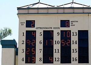 Tote board - Tote Board at Hollywood Park, California