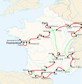 Carte des étapes du tour de France 2005
