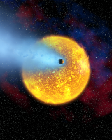 Concepción artística del tránsito de HD 209458b con su atmósfera delante de su estrella (Crédito: Alfred Vidal-Madjar, Institut d'Astrophysique de Paris, CNRS, France)