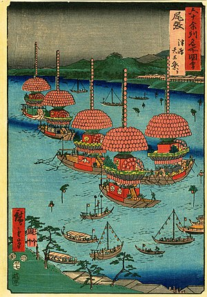 Owari Province - Ukiyo-e print by Hiroshige, Owari, from The Famous Scenes of the Sixty States (六十余州名所図会), depicting a festival at Tsushima Shrine