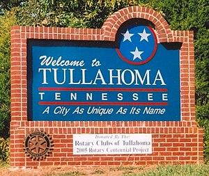 Tullahoma, Tennessee - Image: Tullahoma Welcome Sign