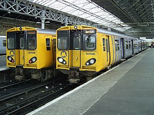 Southport railway station - Two Merseyrail Class 507 units stand in Platforms 2 and 3.
