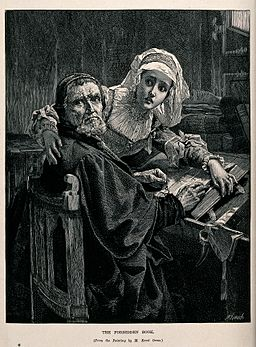 "Two people interrupted while reading the ""forbidden book"" (t Wellcome V0048174"