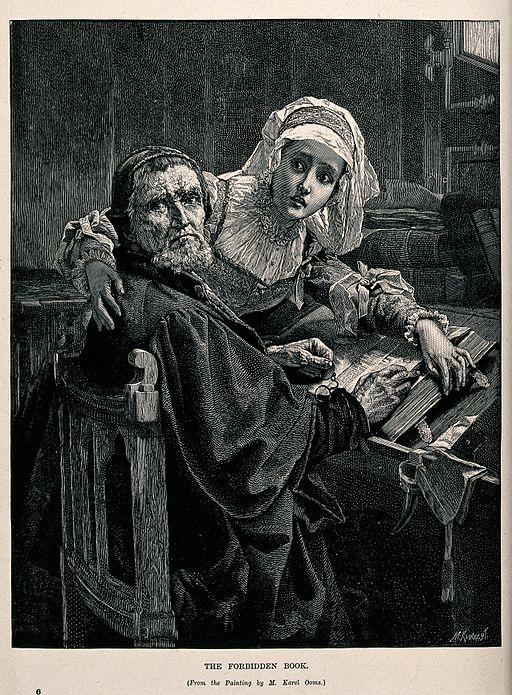 """Two people interrupted while reading the """"forbidden book"""" (t Wellcome V0048174"""