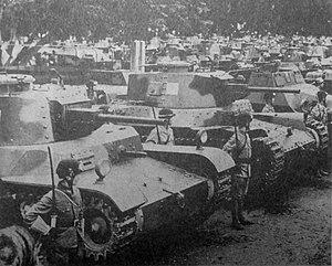 Type 1 Chi-He - Type 1 medium tank Chi-He on left and Type 97 medium tank Shinhoto Chi-Ha on right