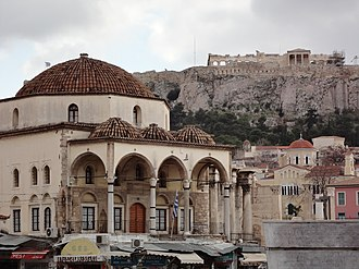 Monastiraki - Image: Tzisdarakis Mosque and Akropolis in Monastiraki