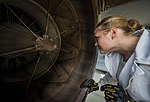 U.S. Air Force Staff Sgt. Jennifer Smith, a jet propulsion specialist with the 437th Maintenance Group, inspects the rear of a C-17 Globemaster III aircraft engine for cracks, bumps and other flaws during 130626-F-LR006-006.jpg