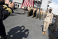 U.S. Army Gen. Martin E. Dempsey, left, the chairman of the Joint Chiefs of Staff, exchanges a salute with a Marine on the dock landing ship USS Fort McHenry (LSD 43) in Dublin Sept 120901-D-VO565-003.jpg