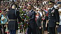 U.S. President Barack Obama sets a wreath in front of the Tomb of the Unknowns to honor the nations fallen service members during the 145th annual Memorial Day observance at Arlington National Cemetery, Va 130527-D-NI589-814.jpg