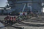 U.S. Sailors set up barriers as part of a barricade drill on the flight deck of the aircraft carrier USS Harry S. Truman (CVN 75) in the Gulf of Oman Dec. 1, 2013 131201-N-RY581-066.jpg