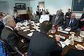 U.S. Secretary of Defense Chuck Hagel, left, meets with Tunisian Minister of Defense Rachid Sabbagh, right, and Deputy Secretary of Defense Ash Carter at the Pentagon in Arlington, Va., May 28, 2013 130528-D-BW835-094.jpg