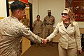 U.S. Secretary of State Hillary Rodham Clinton, right, shakes hands with a U.S. Marine at the Installation Personnel Administration Center on Marine Corps Air Station (MCAS) Miramar, Calif., Aug 30, 2012 120830-M-GC438-053.jpg