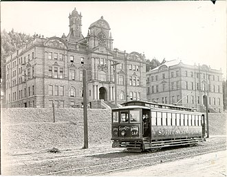University of California, San Francisco - The Affiliated Colleges buildings in 1908, with the streetcar that used to run on Parnassus