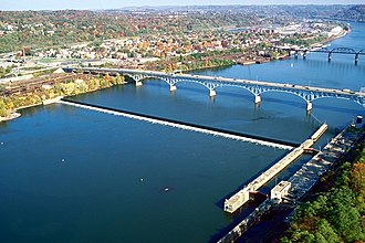 Allegheny River - The Highland Park Bridge crosses the Allegheny River at Aspinwall, Pennsylvania, just above Allegheny River Lock and Dam No. 2.