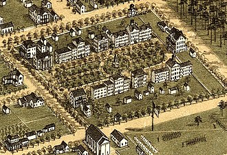 University of South Carolina - An 1872 aerial illustration of the University of South Carolina Horseshoe