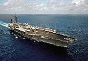 USS America (CV-66) underway in the Indian Ocean on 24 April 1983
