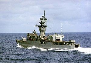 USS Badger (DE-1071) underway in the South China Sea, in April 1975