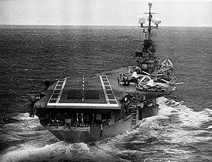 USS Ticonderoga (CVA-14) stern view 1957.jpg