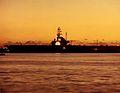 USS Ticonderoga (CVS-14) lit up for Christmas at San Diego in 1971.jpg