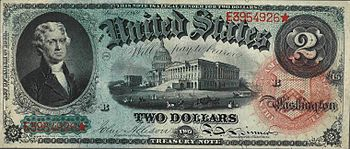 Thomas Jefferson - Series of 1869 $2 bill