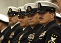 US Navy 031031-N-5576W-004 Master Chief Petty Officer of the Navy (MCPON) Terry Scott, along with 3 Fleet Master Chiefs, watches in review graduating recruits during ceremonies held onboard Naval Station Great Lakes.jpg