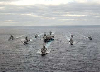 Nimitz-class aircraft carrier - George Washington Carrier Strike Group formation sails in the Atlantic Ocean.