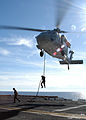 US Navy 041013-N-6920A-001 German Navy Sailors assigned to the German Navy frigate FGS Niedersachsen (F 208), conduct fast rope exercises from a MH-60S Knighthawk during flight operations aboard the amphibious assault ship USS.jpg