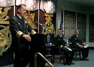 Vice Admiral James Bond Stockdale Award for Inspirational Leadership - Image: US Navy 051017 N 2383B 024 Chief of Naval Operations (CNO) Adm. Mike Mullen delivers remarks during the Twenty fifth Annual Vice Admiral James Bond Stockdale Leadership Award Ceremony, held in the Pentagon Hall of Heroes