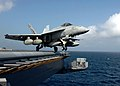 US Navy 070110-N-8907D-001 An F-A-18E Super Hornet assigned to the Pukin Dogs of Strike Fighter Squadron One Four Three (VFA-143) launches from the flight deck of the Nimitz-class aircraft carrier USS Dwight D. Eisenhower (CVN.jpg